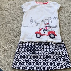 Gymboree outfit size 5 skirt and size 6 shirt